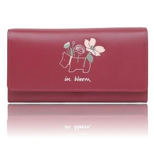 Radley In Bloom Leather Red Flapover Wallet